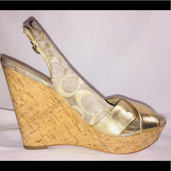 828c8f4533 Gold Coach Jessy wedge cork heels leather w buckle.  M_5bdfa6a12beb795d0ec0bf00
